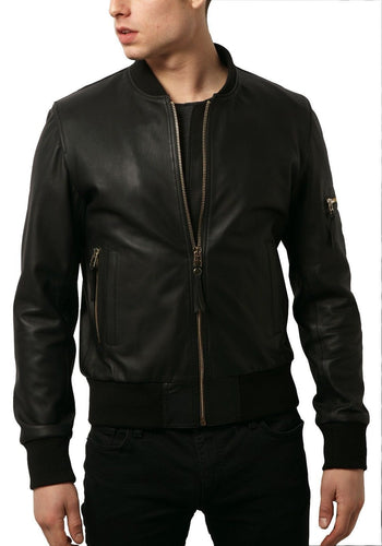 leather404 Clothing, Shoes & Accessories:Men's Clothing:Coats & Jackets s Black Leather Jacket Men's Handmade Bomber Pure Lambskin Leather Biker Jacket