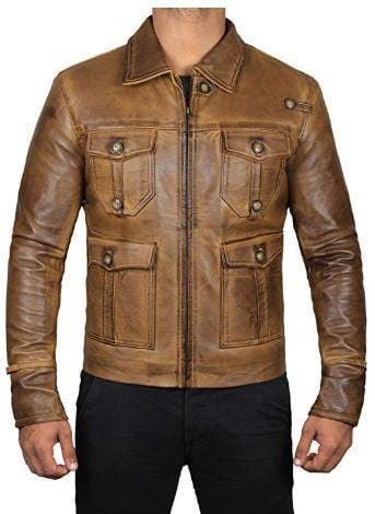 leather404 Clothing, Shoes & Accessories:Men's Clothing:Coats & Jackets Men's Brown Leather Jacket Genuine Biker Asymmetrical Leather Jackets
