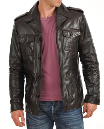 leather404 Clothing, Shoes & Accessories:Men's Clothing:Coats & Jackets s Men's Genuine Leather Jacket Brown Slim fit Biker Motorcycle Jackets