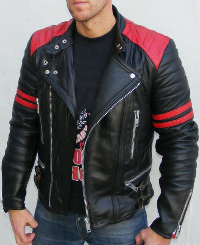 leather404 Clothing, Shoes & Accessories:Men's Clothing:Coats & Jackets s Brando Black Red Padded Power Shoulders Motorcycle Biker Genuine Leather Jackets