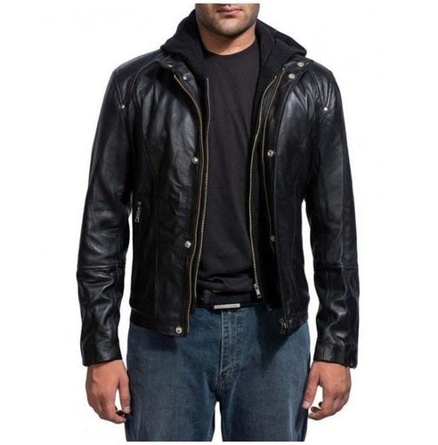 leather404 Clothing, Shoes & Accessories:Men's Clothing:Coats & Jackets s Brick Mansions Damien Collier Black Leather Jacket Hooded Leather Jackets