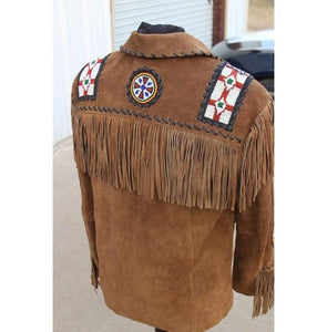 leather404 Clothing, Shoes & Accessories:Men's Clothing:Coats & Jackets Brown Cowboy Suede Jacket Cowboy Style Suede Jacket With Fringe Jacket