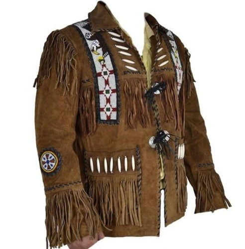 leather404 Clothing, Shoes & Accessories:Men's Clothing:Coats & Jackets s Brown Cowboy Suede Jacket Cowboy Style Suede Jacket With Fringe Jacket