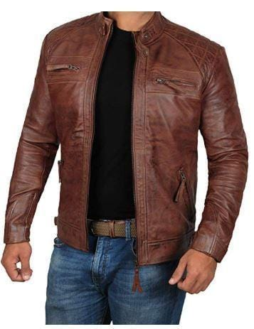 leather404 Clothing, Shoes & Accessories:Men's Clothing:Coats & Jackets Men Brown Leather Jacket Cafe Racer Real Lambskin Distressed Jackets