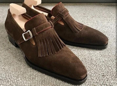 leather404 Clothing, Shoes & Accessories:Men's Shoes:Dress Shoes usa-7 Men's Suede Derby Casual Brown Leather Fringe Monk Strap Shoes