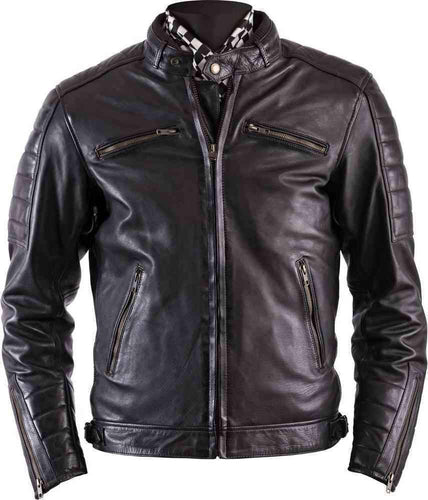 leather404 Clothing, Shoes & Accessories:Men's Clothing:Coats & Jackets s Handmade Stylish Black Padded Real Leather Pocket Men's Jacket