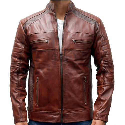 leather404 Clothing, Shoes & Accessories:Men's Clothing:Coats & Jackets s CafeRacer Motorcycle Vintage Distressed Brown Waxed Biker Men Leather Jackets