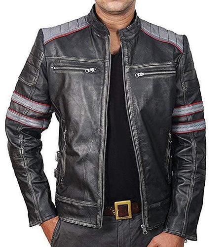 leather404 Clothing, Shoes & Accessories:Men's Clothing:Coats & Jackets Racer Retro Classic Black gray Distressed Leather Jackets