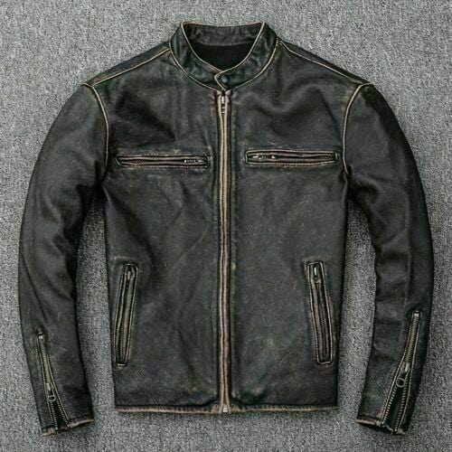 leather404 Clothing, Shoes & Accessories:Men's Clothing:Coats & Jackets Mens Retro 2 Cafe Racer Biker Vintage Leather Jackets