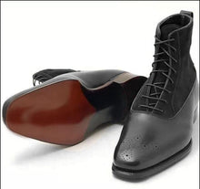 leather404 Clothing, Shoes & Accessories:Men's Shoes:Boots Black Leather & Suede Ankle Boots For Men's