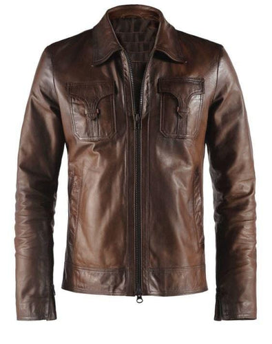 leather404 Clothing, Shoes & Accessories:Men's Clothing:Coats & Jackets Men's Genuine Sheep Leather Brown Slim fit Biker Motorcycle Jackets