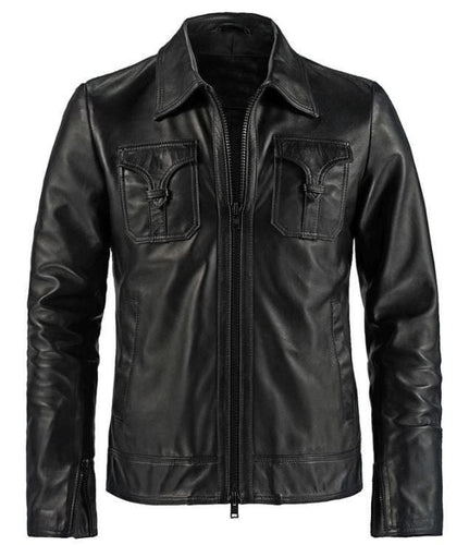 leather404 Clothing, Shoes & Accessories:Men's Clothing:Coats & Jackets Brand Men's Genuine Leather Black Slim fit Biker Motorcycle  Jackets