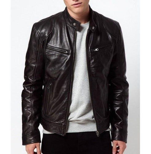 leather404 Clothing, Shoes & Accessories:Men's Clothing:Coats & Jackets s Men's Soft Lambskin Leather Men's Bomber Biker Black Jackets