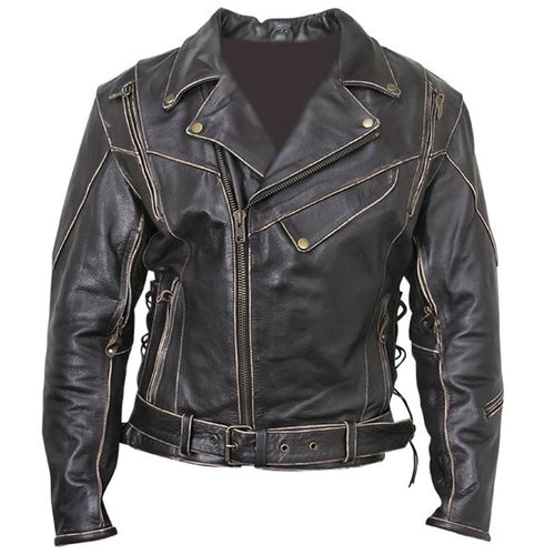 leather404 Clothing, Shoes & Accessories:Men's Clothing:Coats & Jackets s Classic Men's Vintage Distressed Biker Leather Black Jacket