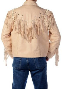 leather404 Clothing, Shoes & Accessories:Men's Clothing:Coats & Jackets Cowboy Leather Jacket, Western Men 1980' Cowboy Cream Color Fringe Jackets