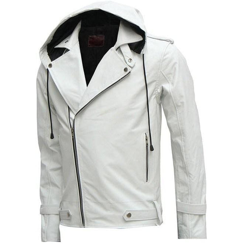 leather404 Clothing, Shoes & Accessories:Men's Clothing:Coats & Jackets s Designer New Magnificent White Men's Hooded Leather Jacket Men Style Jackets