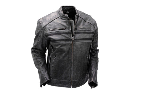 leather404 Clothing, Shoes & Accessories:Men's Clothing:Coats & Jackets Double Zipper Leather Motorcycle Jacket, Men's Black Leather Jacket
