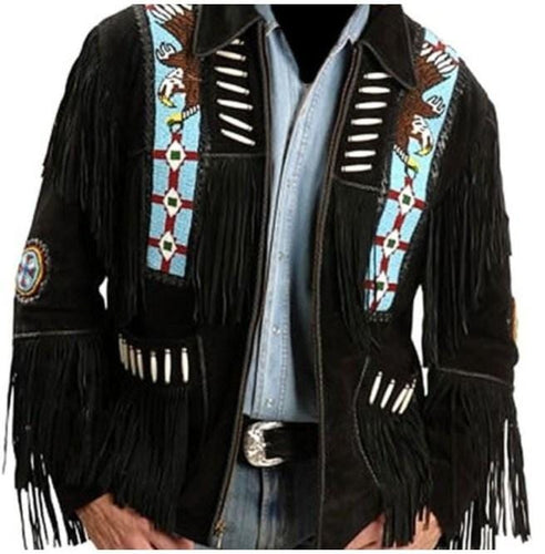 leather404 Clothing, Shoes & Accessories:Men's Clothing:Coats & Jackets s Handmade Eagle Beads Western Cowboy Black Color Suede Leather Jacket