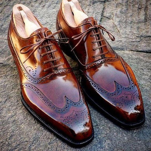 leather404 Clothing, Shoes & Accessories:Men's Shoes:Dress Shoes Elegant Men's handmade Wing Tip Brogue Brown Leather Shoes