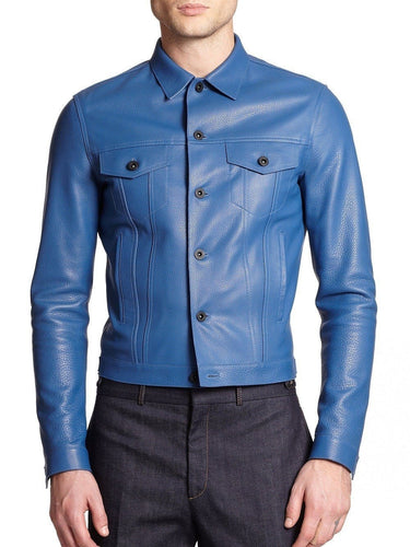 leather404 Clothing, Shoes & Accessories:Men's Clothing:Coats & Jackets s Handmade Men's Blue Leather Jacket, Men's Blue Biker Leather Jacket