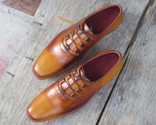 leather404 Clothing, Shoes & Accessories:Men's Shoes:Dress Shoes usa-7 Men's Tan Brown Leather Derby Shoes