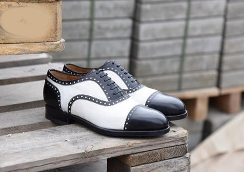 leather404 Clothing, Shoes & Accessories:Men's Shoes:Dress Shoes usa-7 Men's Leather Black White Oxfords Brogue Shoes
