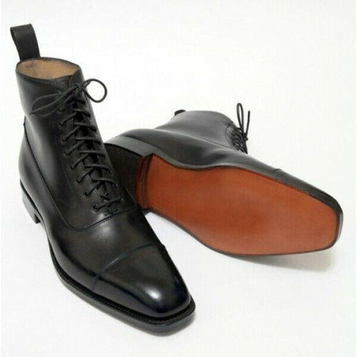 leather404 Clothing, Shoes & Accessories:Men's Shoes:Boots usa-7 Handmade Black Ankle High Cap Toe Lace Up Leather Boot