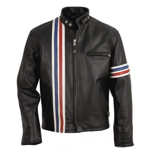 leather404 Clothing, Shoes & Accessories:Men's Clothing:Coats & Jackets s Handmade Men Black Jacket, Easy Rider Motorcycle Leather Stripped Jacket