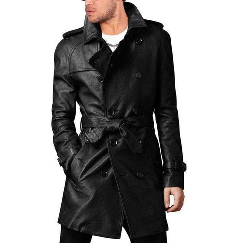 leather404 Clothing, Shoes & Accessories:Men's Clothing:Coats & Jackets s Handmade Men Leather Trench Coat Men's Belted Long Leather Coat Men's Jackets