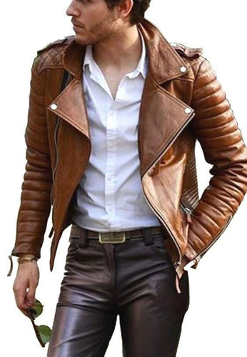 leather404 Clothing, Shoes & Accessories:Men's Clothing:Coats & Jackets s Handmade Men's Brown New Unique Quilted Stylish leather jacket
