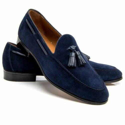 leather404 Clothing, Shoes & Accessories:Men's Shoes:Dress Shoes usa-7 Men's Navy Blue Suede, Men's Loafers Slip On Tussles Stylish Shoes