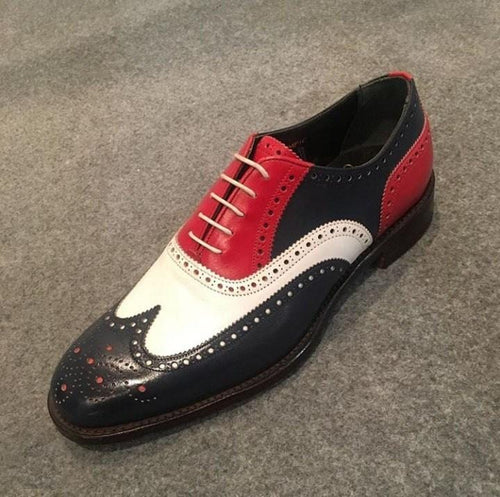 leather404 Clothing, Shoes & Accessories:Men's Shoes:Dress Shoes usa-7 Men's Leather Wing Tip Brogue, Red Black White Lace Up Shoes