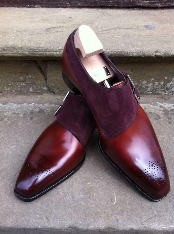 leather404 Clothing, Shoes & Accessories:Men's Shoes:Dress Shoes usa-7 Handmade Burgundy Leather Suede Monk Shoes