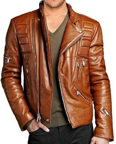 leather404 Clothing, Shoes & Accessories:Men's Clothing:Coats & Jackets s Handmade Men's Tan Color Classic Padded Stylish leather jacket