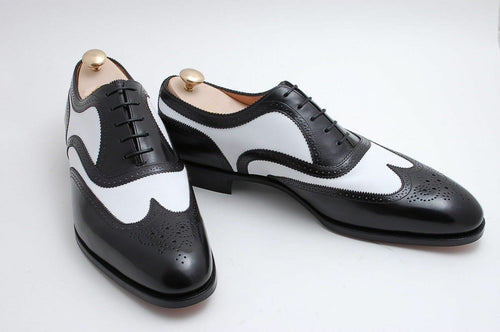 leather404 Clothing, Shoes & Accessories:Men's Shoes:Dress Shoes usa-7 Men's White Black Wing Tip Brogue Leather Shoes