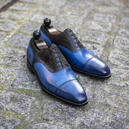 leather404 Clothing, Shoes & Accessories:Men's Shoes:Dress Shoes usa-7 Men's Leather Shoes, Men's Blue Black Cap Toe Shoes