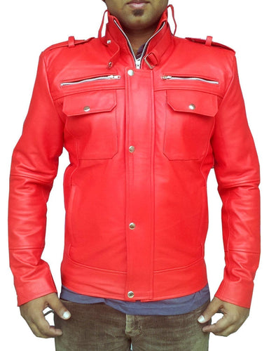 leather404 Clothing, Shoes & Accessories:Men's Clothing:Coats & Jackets Handmade New Men's Red Bomber Slim Fit Leather Jacket, Men leather jacket