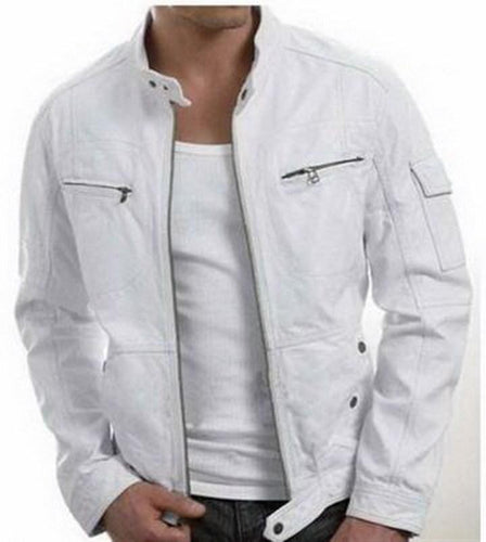 leather404 Clothing, Shoes & Accessories:Men's Clothing:Coats & Jackets s Handmade New Men Stylish Unique White Leather Jacket, Men Leather jacket