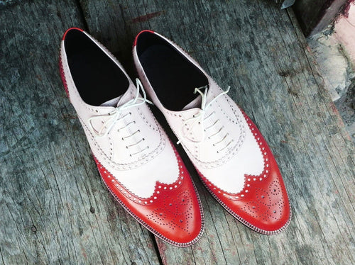 leather404 Clothing, Shoes & Accessories:Men's Shoes:Dress Shoes usa-7 Men's Leather Wing Tip Brogue, Red White Lace Up Stylish Shoes