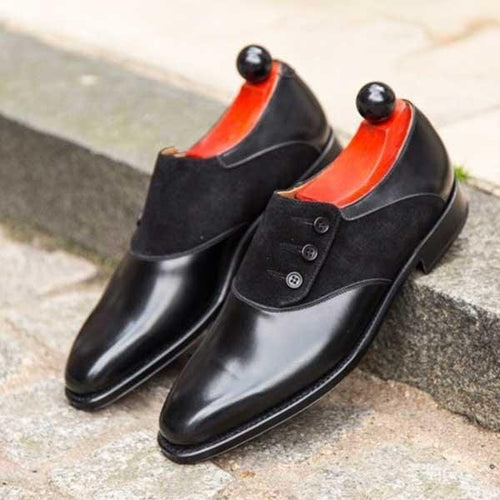 leather404 Clothing, Shoes & Accessories:Men's Shoes:Dress Shoes Men's Handmade Leather & Suede Button Derby Black Designer Shoes