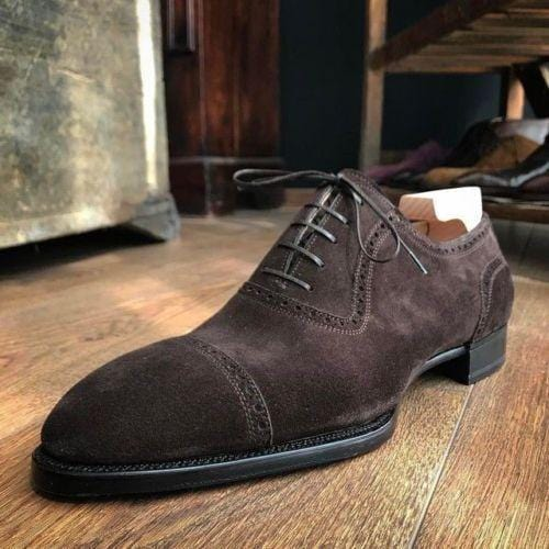 leather404 Clothing, Shoes & Accessories:Men's Shoes:Dress Shoes usa-7 Suede Lace Up Stylish Shoes, Men's Dark Brown Derby Cap Toe Shoes