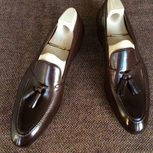leather404 Clothing, Shoes & Accessories:Men's Shoes:Dress Shoes usa-7 Handmade Chocolate Brown Split Toe Loafers Tussles Shoes