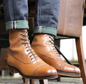 leather404 Clothing, Shoes & Accessories:Men's Shoes:Boots Handmade Tan Ankle High Leather Lace Up Boot For Men's
