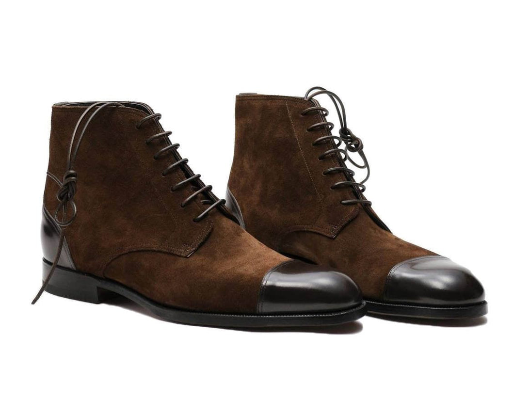 leather404 Clothing, Shoes & Accessories:Men's Shoes:Boots brown Leather Suede Cap Toe Men's Boot