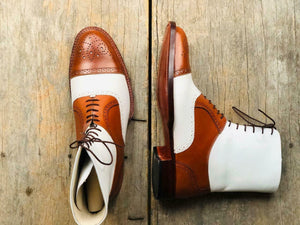 leather404 Clothing, Shoes & Accessories:Men's Shoes:Boots Ankle High Tan & White Cap Toe Brogue Leather Lace Up Men's Boot