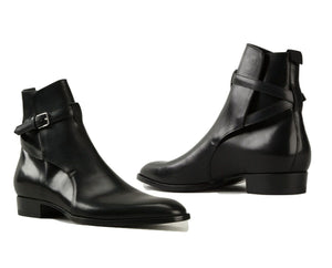 leather404 Clothing, Shoes & Accessories:Men's Shoes:Boots Handmade Jodhpurs Ankle High Boot, Men Buckle Leather Boots