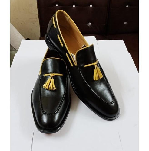 leather404 Clothing, Shoes & Accessories:Men's Shoes:Dress Shoes Black Leather Loafers Yellow Tussles Shoes