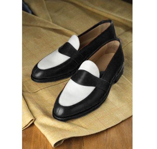 leather404 Clothing, Shoes & Accessories:Men's Shoes:Dress Shoes Handmade Men Black white leather slip owns shoes
