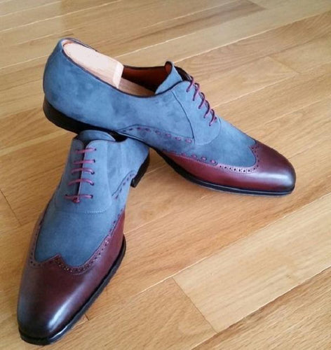 leather404 Clothing, Shoes & Accessories:Men's Shoes:Dress Shoes Men's Leather Suede Wing Tip Blue Brown Shoes
