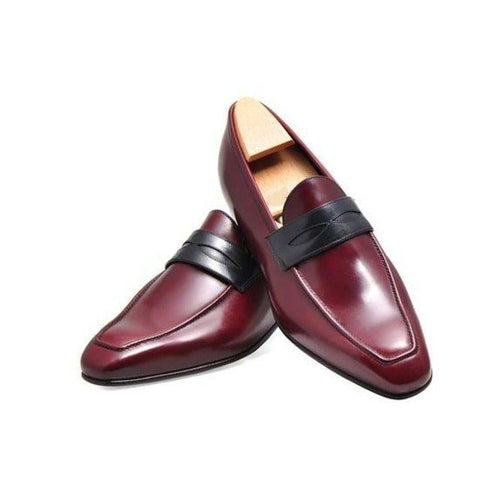 leather404 Clothing, Shoes & Accessories:Men's Shoes:Dress Shoes Men Burgundy Genuine Leather Moccasins